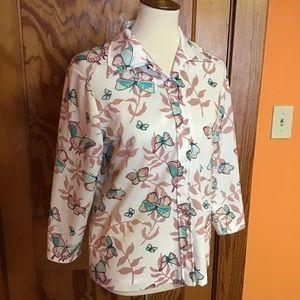 Vintage 70s butterflies button down retro shirt